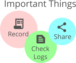 3 Things to do(Record, Check Logs, Share)